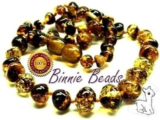 Binnie Beads Amber Baby Necklace - Black/Green