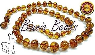 Binnie Beads Amber Baby Necklace - Cognac