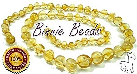 Binnie Beads Amber Baby Necklace - Lemon
